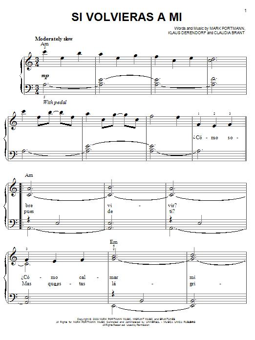 Partition piano Si Volvieras A Mi de Josh Groban - Piano Facile