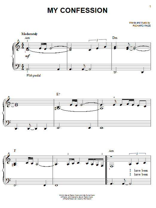 My Confession Sheet Music