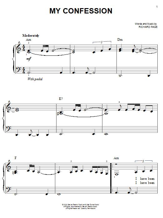 Partition piano My Confession de Josh Groban - Piano Facile