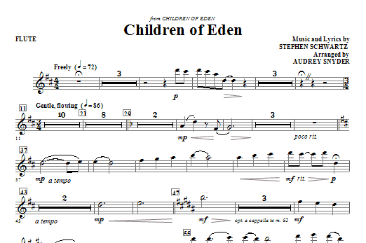 Children of Eden (complete set of parts) sheet music for orchestra/band (Special) by Audrey Snyder and Stephen Schwartz. Score Image Preview.