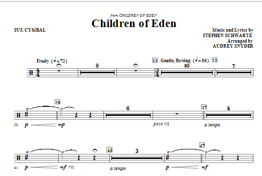Children of Eden - Suspended Cymbal Sheet Music