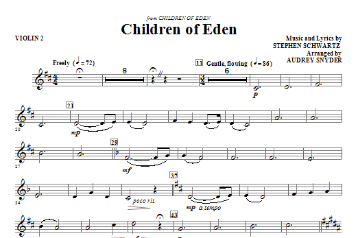 Children of Eden - Violin 2 Sheet Music