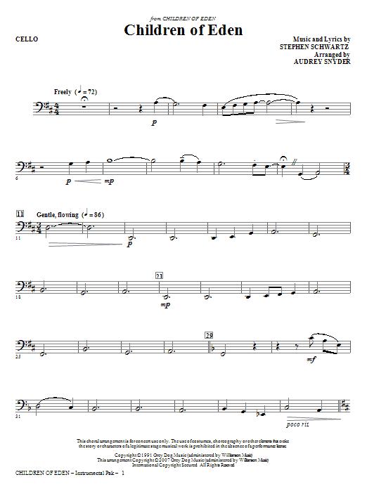 Children of Eden - Cello (Choir Instrumental Pak)