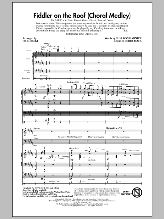 Fiddler On The Roof (Choral Medley) (SATB Choir)