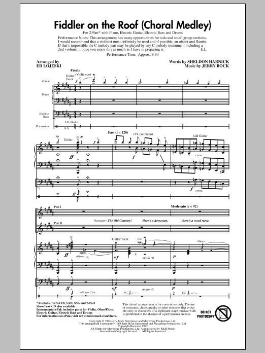 Fiddler On The Roof (Choral Medley) (arr. Ed Lojeski) (2-Part Choir)