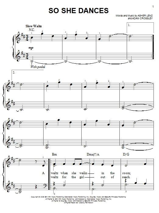 So She Dances (Easy Piano)