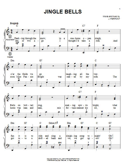 Partition autre Jingle Bells de Christmas Carol - Accordeon