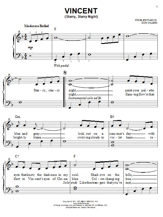 Partition piano Vincent (Starry Starry Night) de Josh Groban - Piano Facile