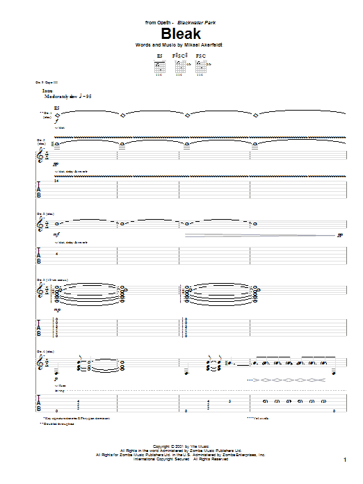 Tablature guitare Bleak de Opeth - Tablature Guitare