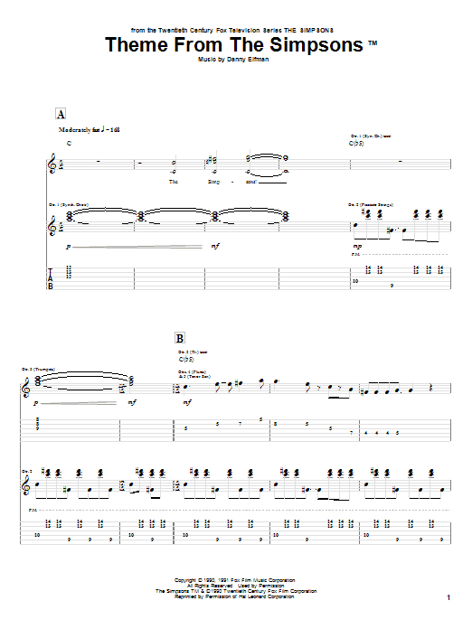 Tablature guitare Theme From The Simpsons de Danny Elfman - Tablature Guitare