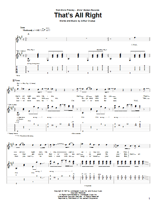Tablature guitare That's All Right de Elvis Presley - Tablature Guitare