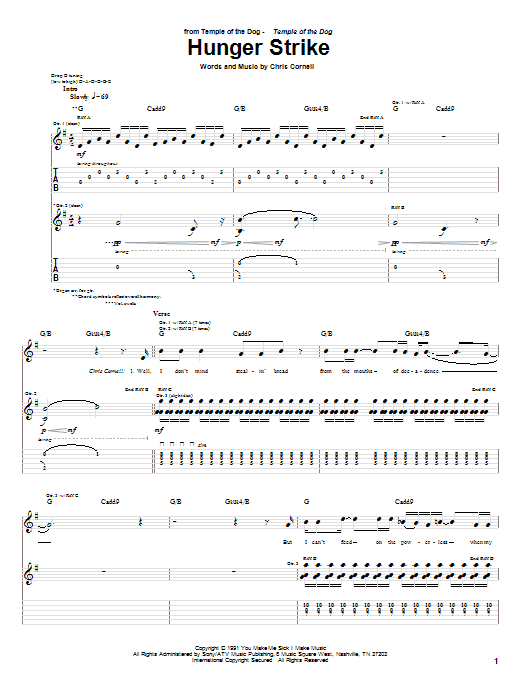 Hunger Strike (Guitar Tab)
