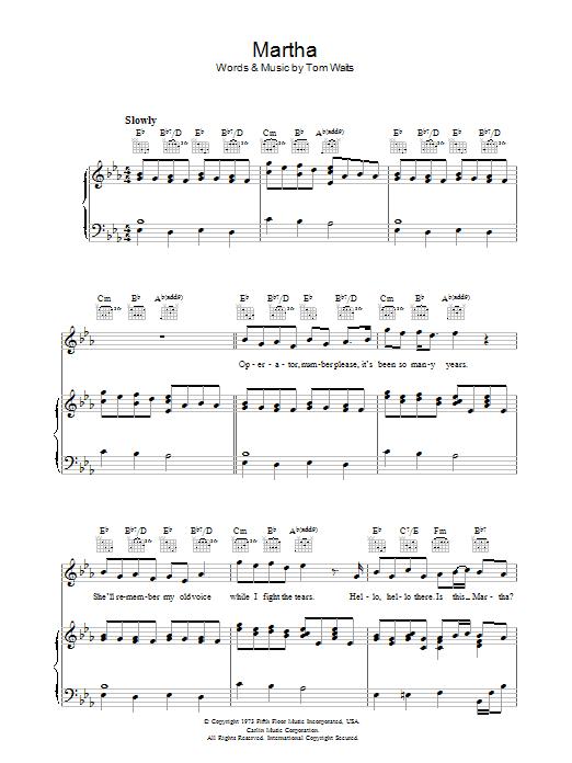 Martha (Piano, Vocal & Guitar)