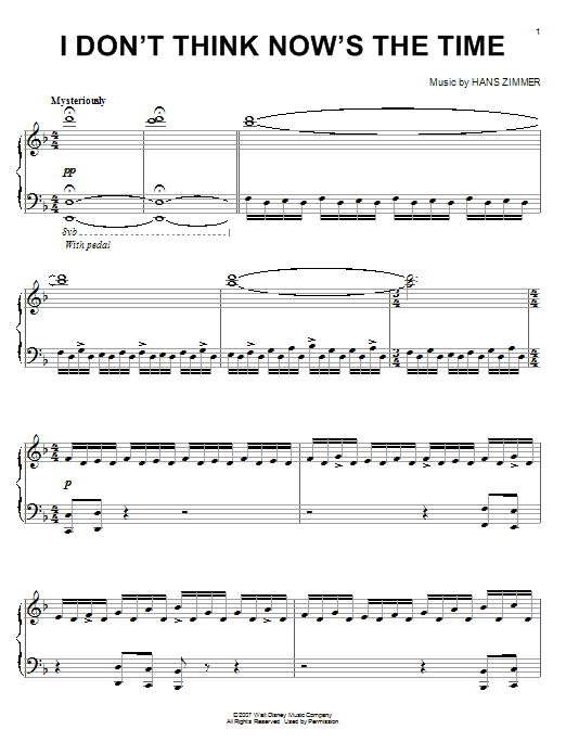 I Don't Think Now's The Time (from Pirates Of The Caribbean: At World's End) Sheet Music