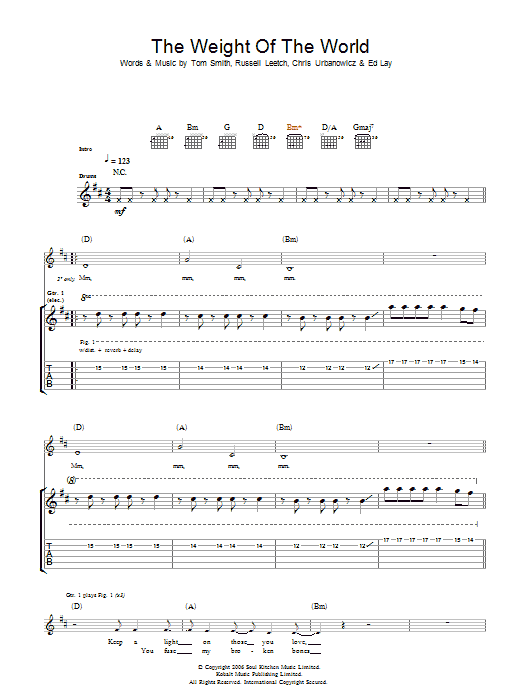 The Weight Of The World (Guitar Tab)