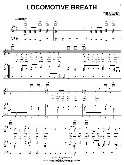 Partition piano Locomotive Breath de Jethro Tull - Piano Voix Guitare (Mélodie Main Droite)