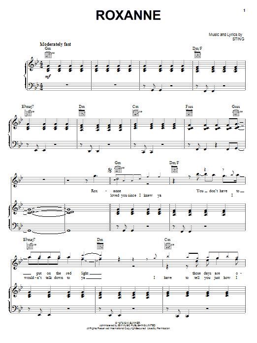 Partition piano Roxanne de The Police - Piano Voix Guitare (Mélodie Main Droite)