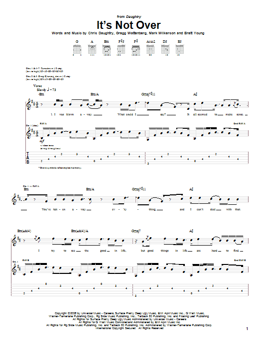 Tablature guitare It's Not Over de Daughtry - Tablature Guitare