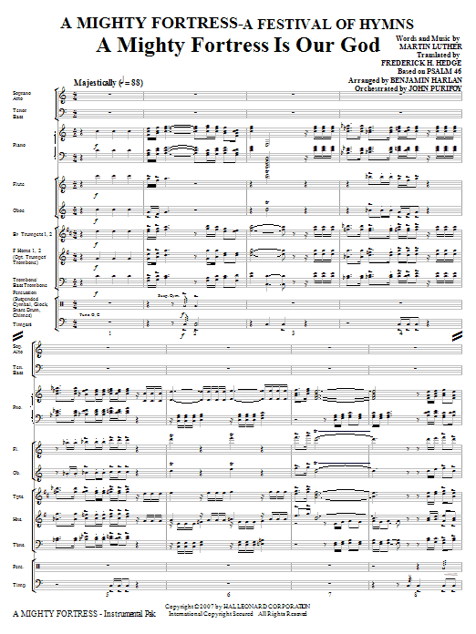 A Mighty Fortress - A Festival of Hymns (COMPLETE) sheet music for orchestra/band (Special) by Benjamin Harlan, Henry F. Lyte, John Purifoy, Mark Hill and William Henry Monk. Score Image Preview.