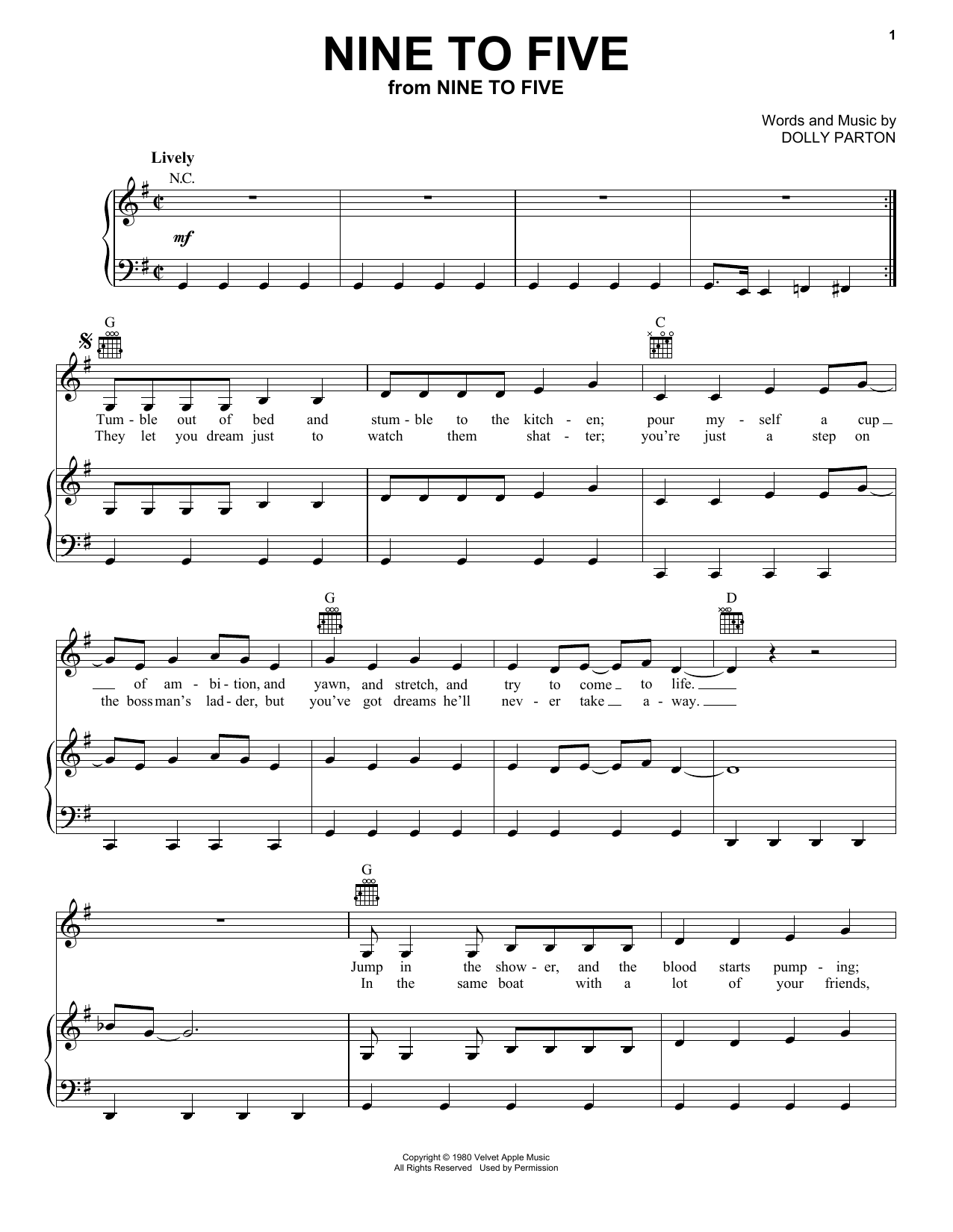 Nine To Five (Piano, Vocal & Guitar (Right-Hand Melody))