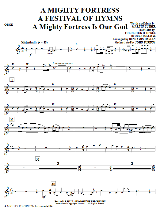 A Mighty Fortress - A Festival of Hymns - Oboe Sheet Music