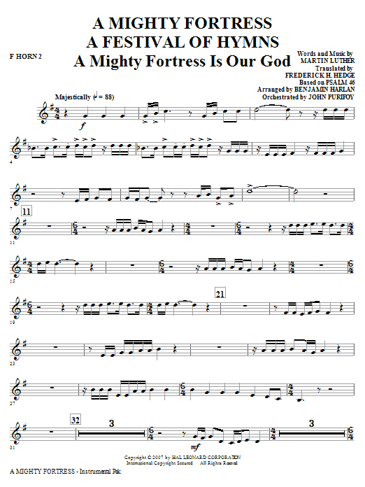 A Mighty Fortress - A Festival of Hymns - F Horn 2 Sheet Music
