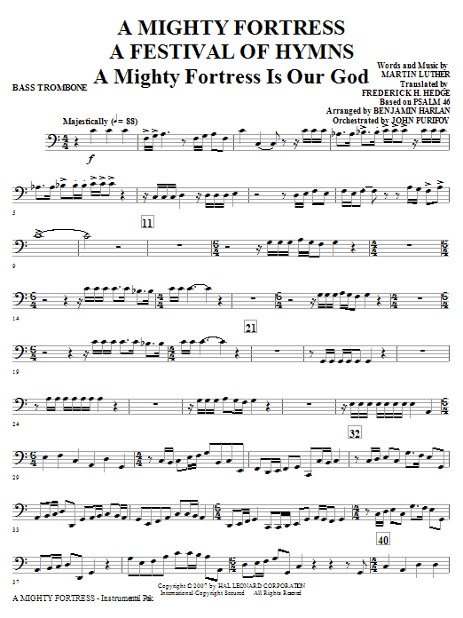 A Mighty Fortress - A Festival of Hymns - Bass Trombone Sheet Music