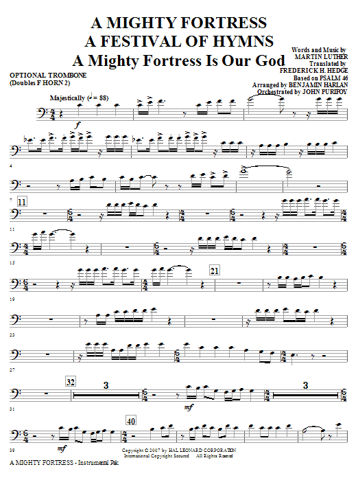 A Mighty Fortress - A Festival of Hymns - Opt. Trombone (Doubles Horn 2) Sheet Music