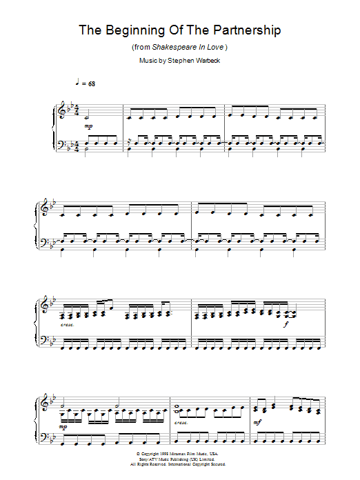 The Beginning Of The Partnership (from Shakespeare In Love) (Piano Solo)