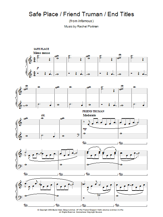 Safe Place/Friend Truman/End Titles (from Infamous) Sheet Music