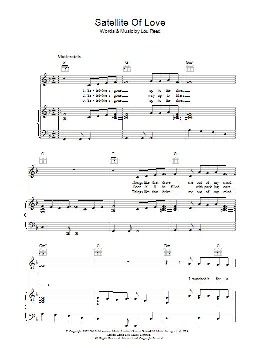 Satellite Of Love (Piano, Vocal & Guitar)