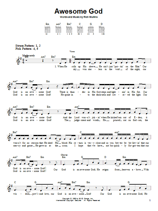 Tablature guitare Awesome God de Rich Mullins - Tablature guitare facile