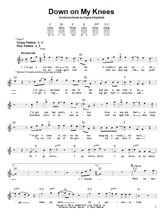 Down On My Knees Sheet Music