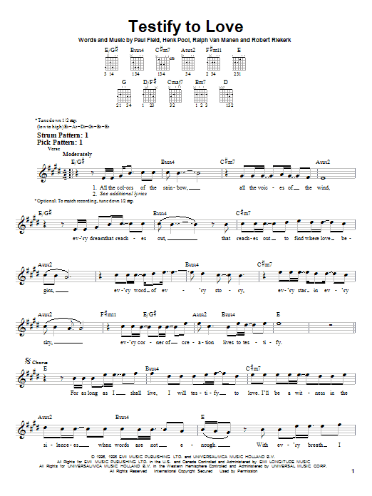 Tablature guitare Testify To Love de Avalon - Tablature guitare facile