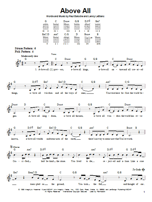 Tablature guitare Above All de Paul Baloche - Tablature guitare facile