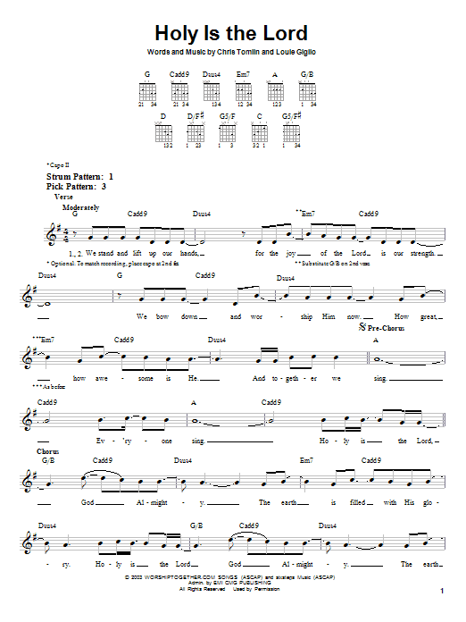 Holy Is The Lord (Easy Guitar)