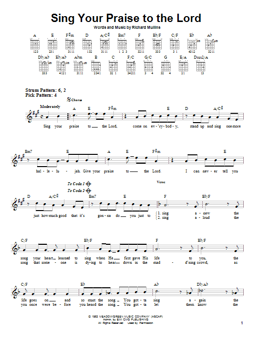 Sing Your Praise To The Lord (Easy Guitar)
