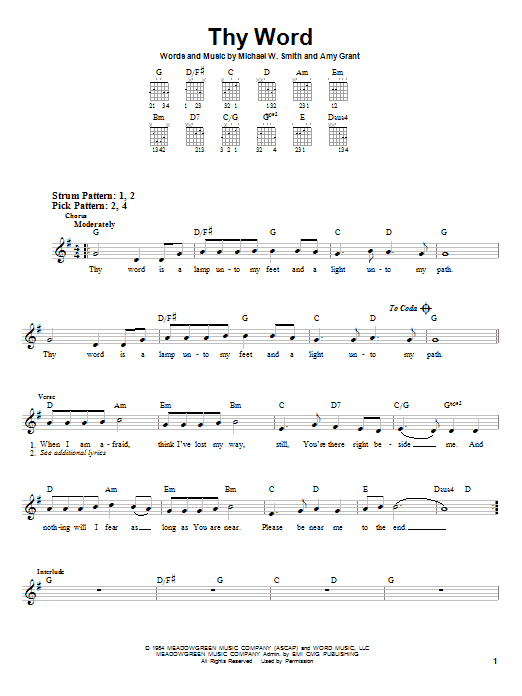 Thy Word (Easy Guitar)