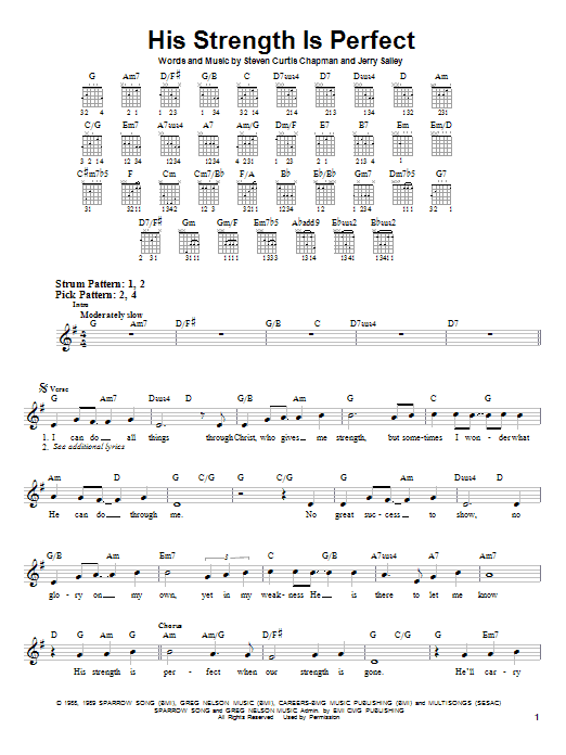 Tablature guitare His Strength Is Perfect de Steven Curtis Chapman - Tablature guitare facile