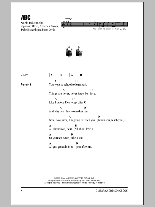 ABC (Guitar Chords/Lyrics)