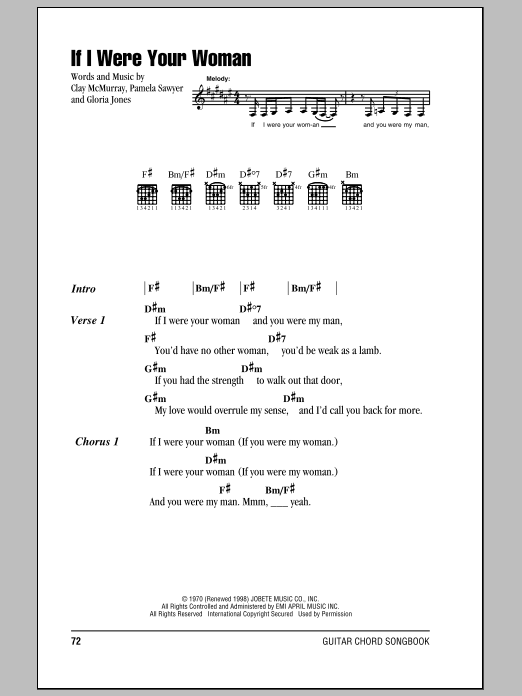 If I Were Your Woman (Guitar Chords/Lyrics)