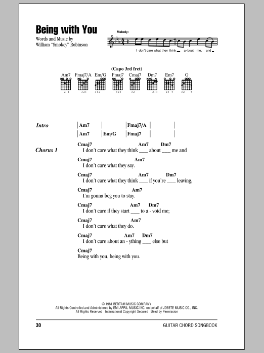 Being With You (Guitar Chords/Lyrics)