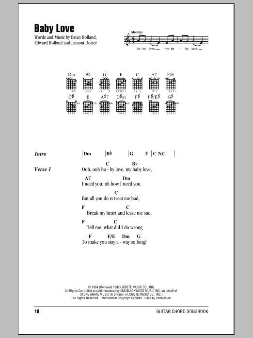 Baby Love Sheet Music