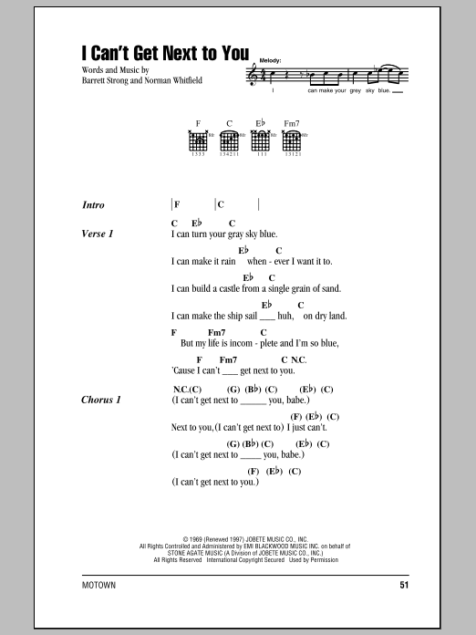 I Can't Get Next To You (Guitar Chords/Lyrics)
