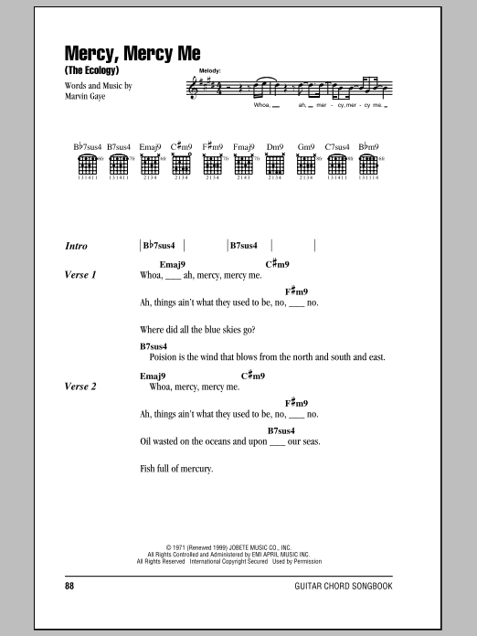 Mercy, Mercy Me (The Ecology) (Guitar Chords/Lyrics)