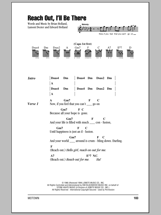 Reach Out, I'll Be There Sheet Music