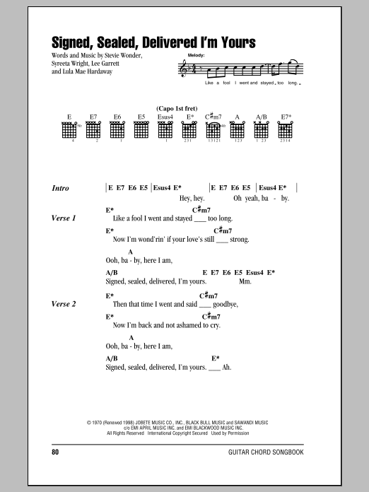 Signed, Sealed, Delivered I\'m Yours by Stevie Wonder - Guitar Chords ...