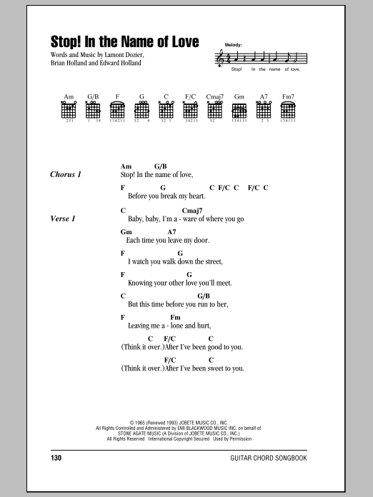 Stop In The Name Of Love Sheet Music The Supremes Lyrics Chords