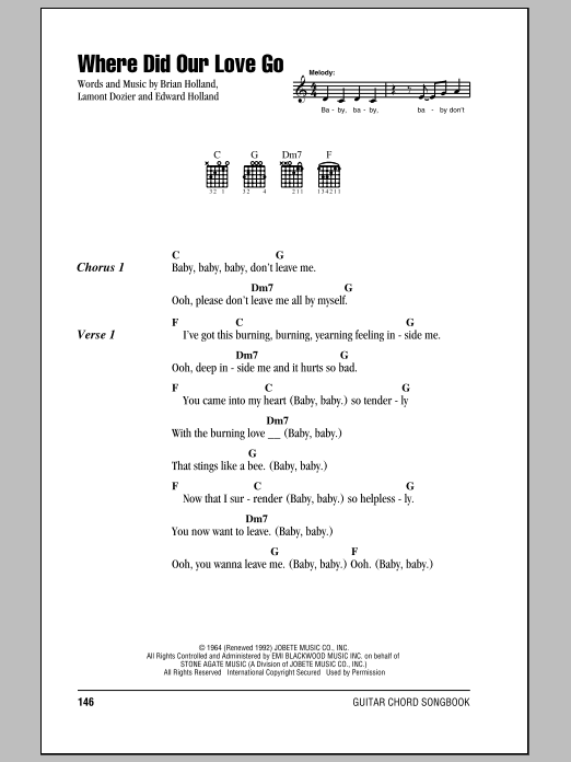 Where Did Our Love Go Sheet Music