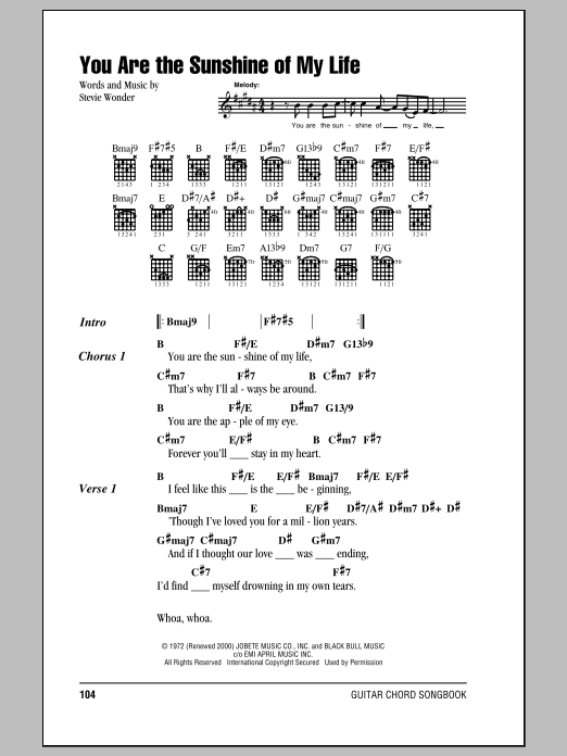 You Are The Sunshine Of My Life Sheet Music